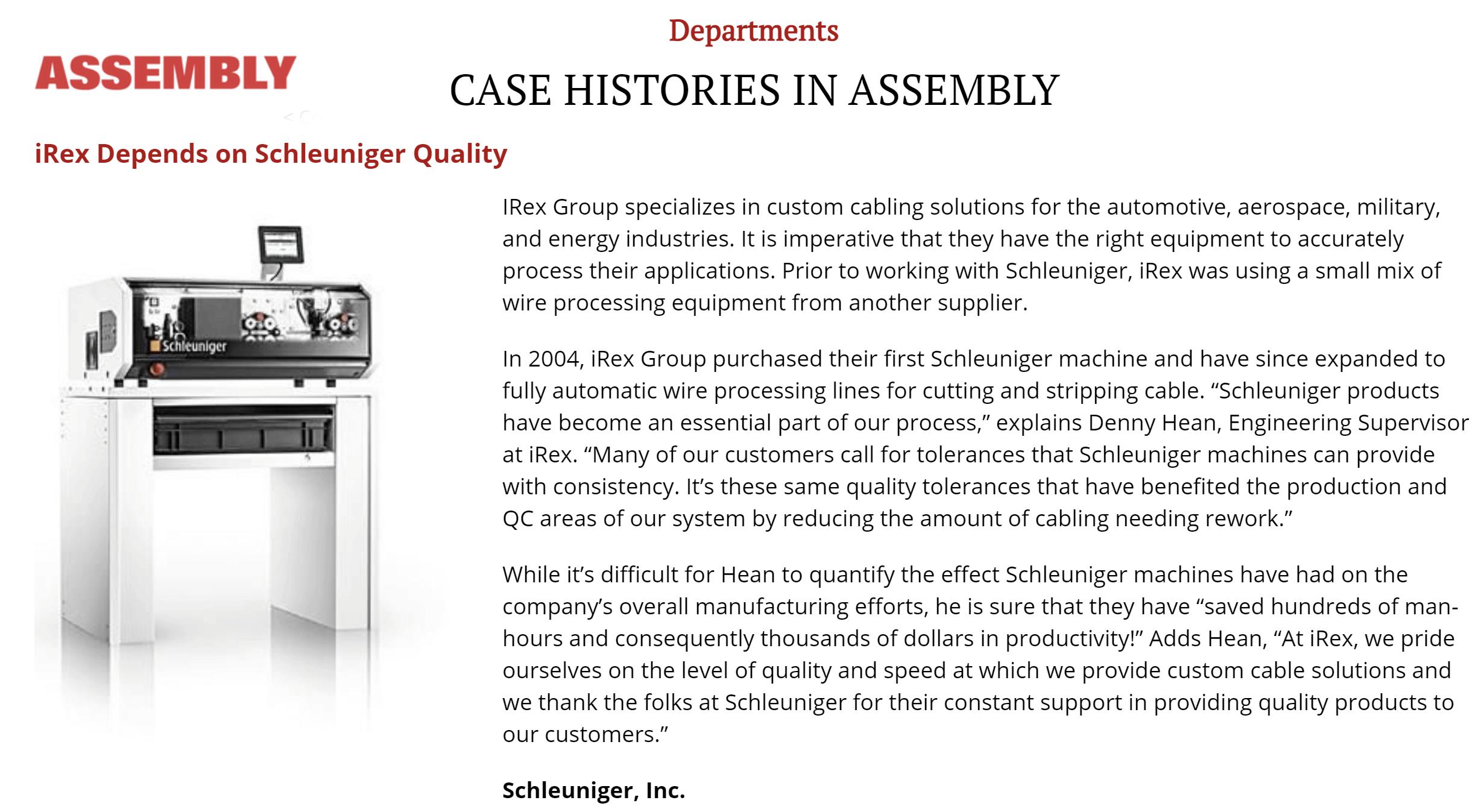 Assembly Magazine Feature